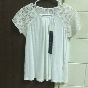 Lucky Brand white lace short sleeve shirt
